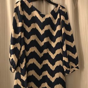 Chevron dark navy blue and tan dress